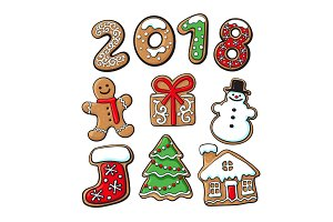 Gingerbread cookies - Christmas elements and 2018