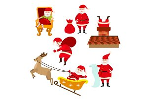 Funny Santa doing various Christmas activities