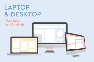 Laptop and desktop Mockup for Sketch