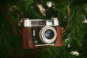 Vintage camera hanging on artificial