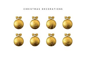 Xmas set balls gold color. Christmas bauble decoration elements