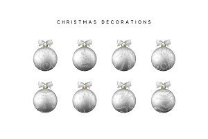Xmas set balls silver color. Christmas bauble decoration elements