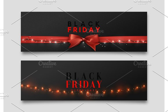 Black Friday Sale Web Banners Vector Illustration