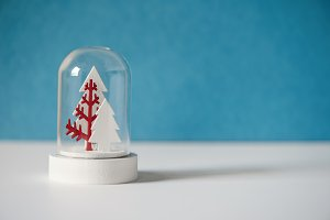 Christmas snow globe with trees