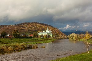 monastery on the river bank