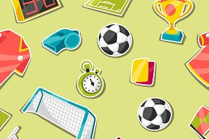 Patterns with soccer sticker.