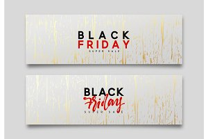 Black friday sale. Web banners, vector illustration