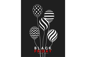 Black Friday, design sale banner, poster advert. Background black, pattern air balloon.