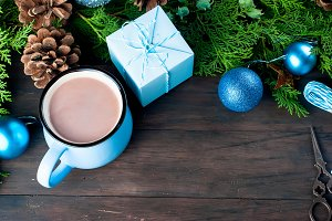 fir   bumps cones, cocoa in blue cup