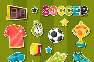 Soccer sticker symbols and icons.