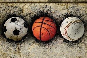 Soccer, basketball and baseball