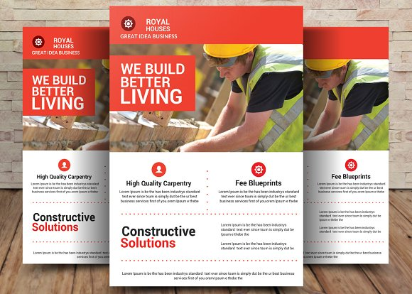 construction business flyer flyer templates creative market