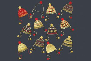 Gold Glitter Christmas Beanie