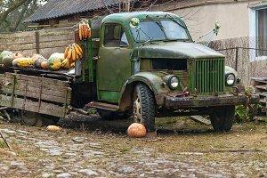 old broken truck on the farm
