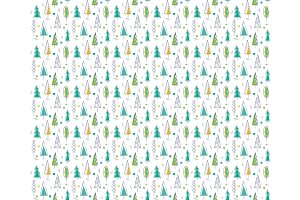 Pattern seamless, texture christmas green trees on white background
