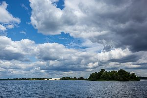 beautiful clouds over the water