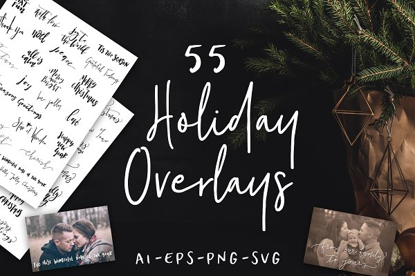 55 Hand Lettered Holiday Overlays