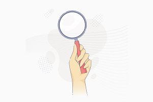 Hand holding modern magnifier