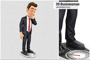 3D Businessman Weighing Himself on B