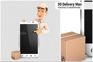 3D Delivery Man Pointing to Blank Sm