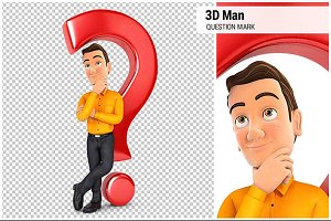 3D Man Leaning Back Against Question