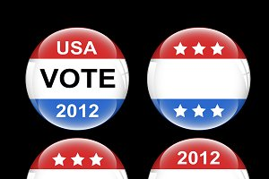 Voting Badge USA Buttons Vectors