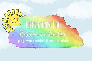 Rainbow Brush strokes set