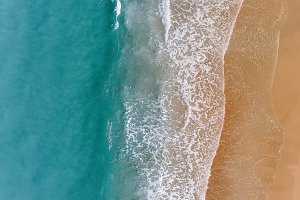 Amazing aerial view of ocean beach