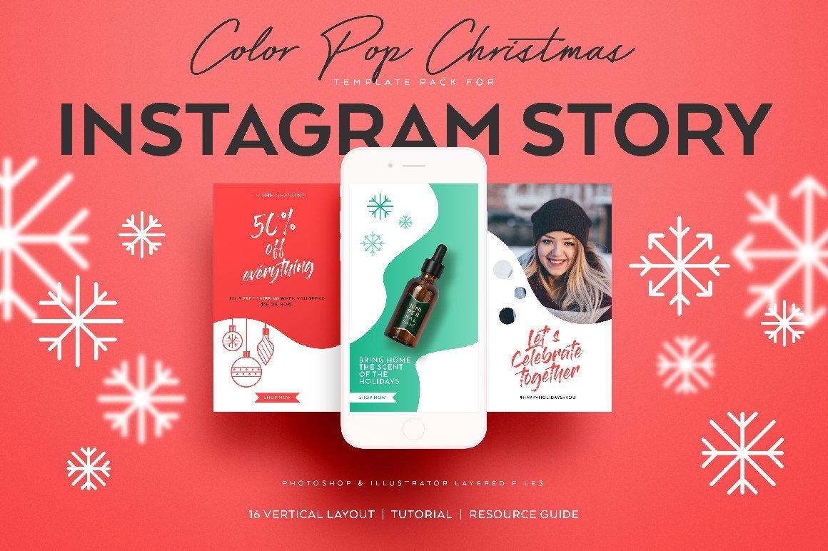 colorpop xmas instagram story pack instagram templates creative market. Black Bedroom Furniture Sets. Home Design Ideas