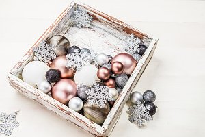 Christmas decorations in the wooden box