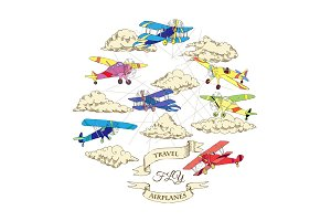 Background with Colored Airplanes