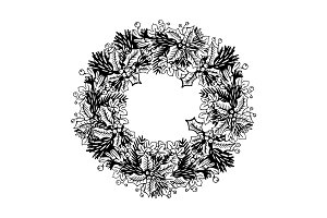 Christmas wreath engraving vector illustration