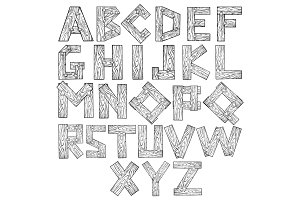 Wooden alphabet engraving vector illustration