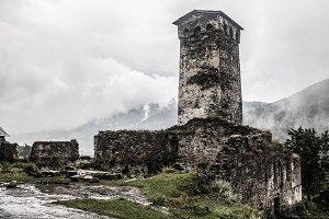 Georgian mountains Svaneti towers