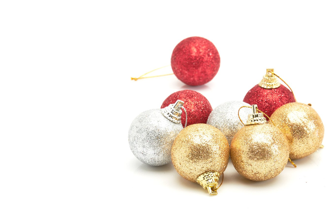 beautiful red gold and silver christmas balls on white photos creative market