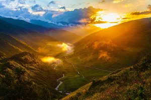 Sunset in Georgian mountains Svaneti Caucasus