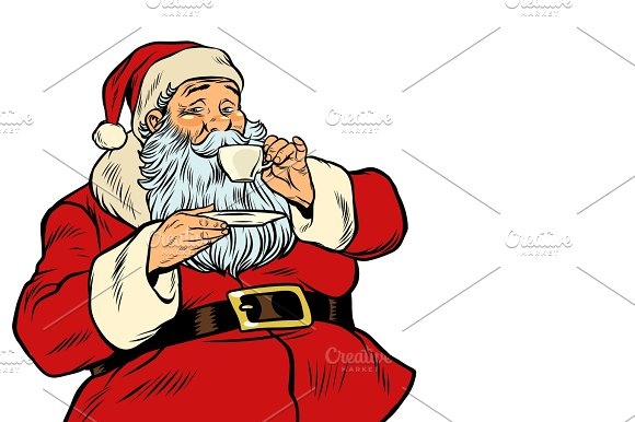 Santa Claus Drinking Tea Or Coffee Isolated On White Background