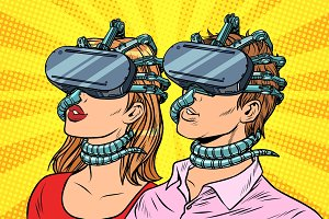 couple man and woman in virtual reality