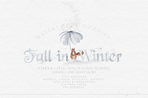 Fall in Winter - Watercolor Graphics
