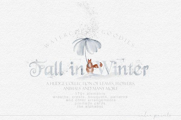 Fall in Winter - Watercolor Graphic…