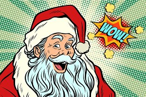 wow Santa Claus Pop art retro