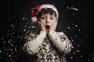 surprised child in New Year's Eve