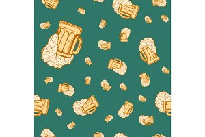 Beer mug seamless pattern
