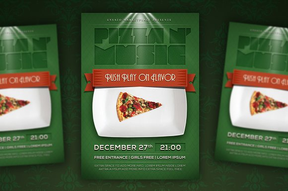 pizza party flyer poster flyer templates creative market