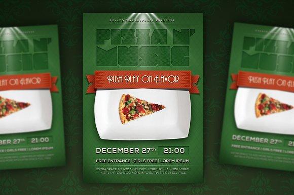 pizza party flyer poster flyer templates creative market