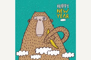 Greeting card happy new year monkey