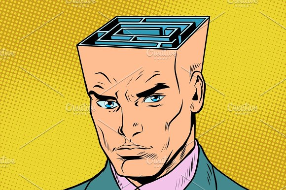Head Maze Man Thinks