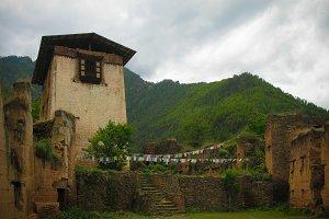 Exterior view to ruins of Drukgyel Dzong, Paro, Bhutan