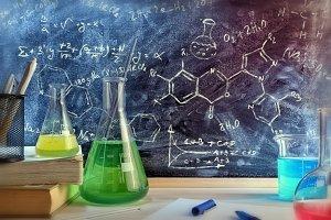 Chemistry class desk detail formula