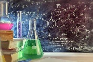 Chemistry class desk closeup formula